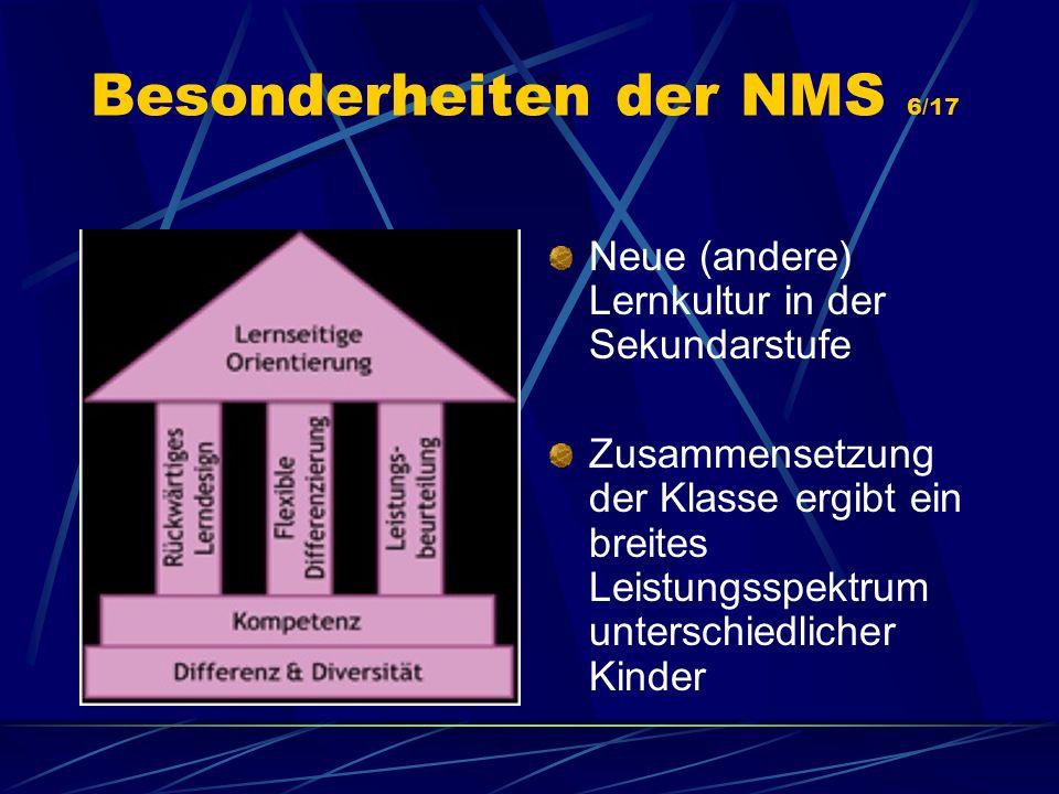 Besonderheiten der NMS 6/17 Neue (andere) Lernkultur in der Sekundarstufe Zusammensetzung der Klasse ergibt ein breites Leistungsspektrum unterschiedl