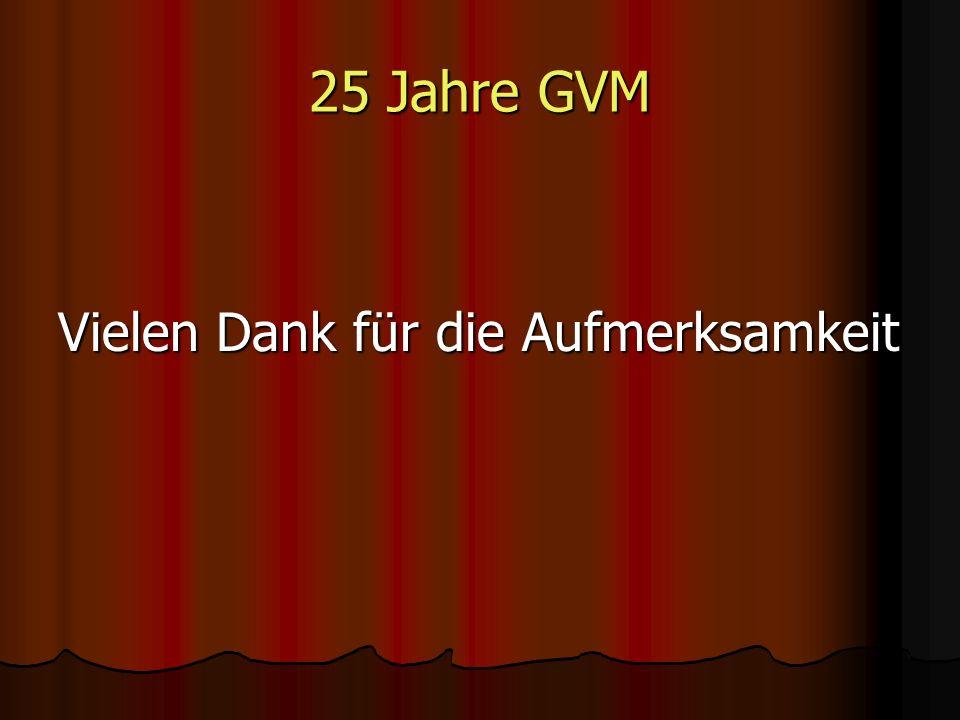 25 Jahre GVM Vielen Dank für die Aufmerksamkeit