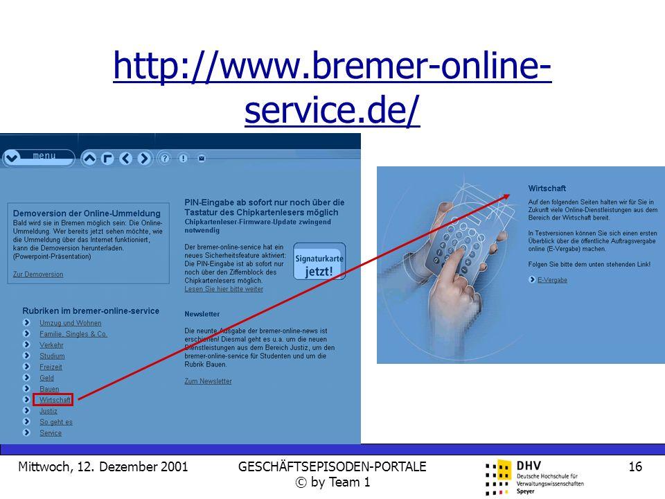 Mittwoch, 12. Dezember 2001GESCHÄFTSEPISODEN-PORTALE © by Team 1 16 http://www.bremer-online- service.de/