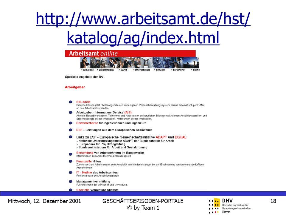 Mittwoch, 12. Dezember 2001GESCHÄFTSEPISODEN-PORTALE © by Team 1 18 http://www.arbeitsamt.de/hst/ katalog/ag/index.html