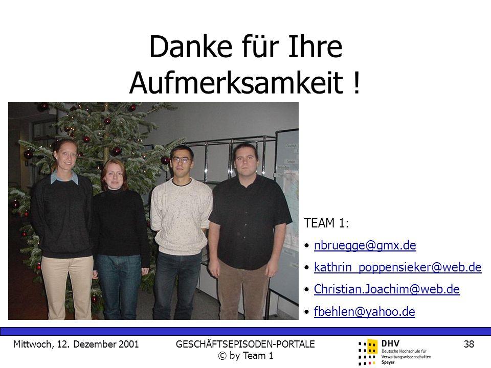 Mittwoch, 12. Dezember 2001GESCHÄFTSEPISODEN-PORTALE © by Team 1 38 Danke für Ihre Aufmerksamkeit ! TEAM 1: nbruegge@gmx.de kathrin_poppensieker@web.d