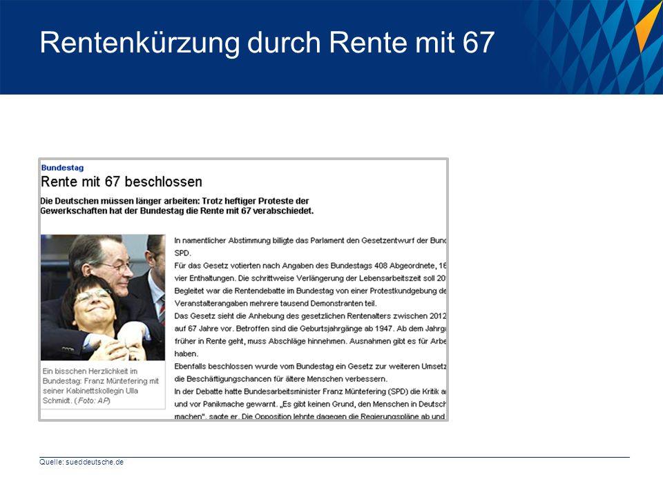 Rentenkürzung durch Rente mit 67 Quelle: sueddeutsche.de
