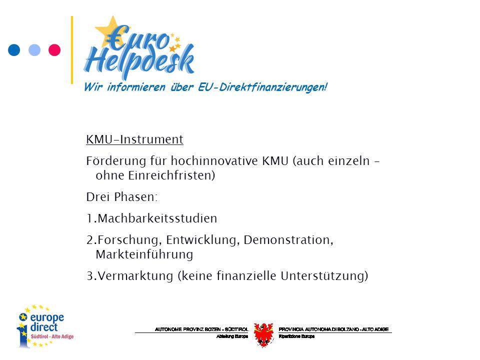 KMU-Instrument Förderung für hochinnovative KMU (auch einzeln – ohne Einreichfristen) Drei Phasen: 1.Machbarkeitsstudien 2.Forschung, Entwicklung, Demonstration, Markteinführung 3.Vermarktung (keine finanzielle Unterstützung) Wir informieren über EU-Direktfinanzierungen!
