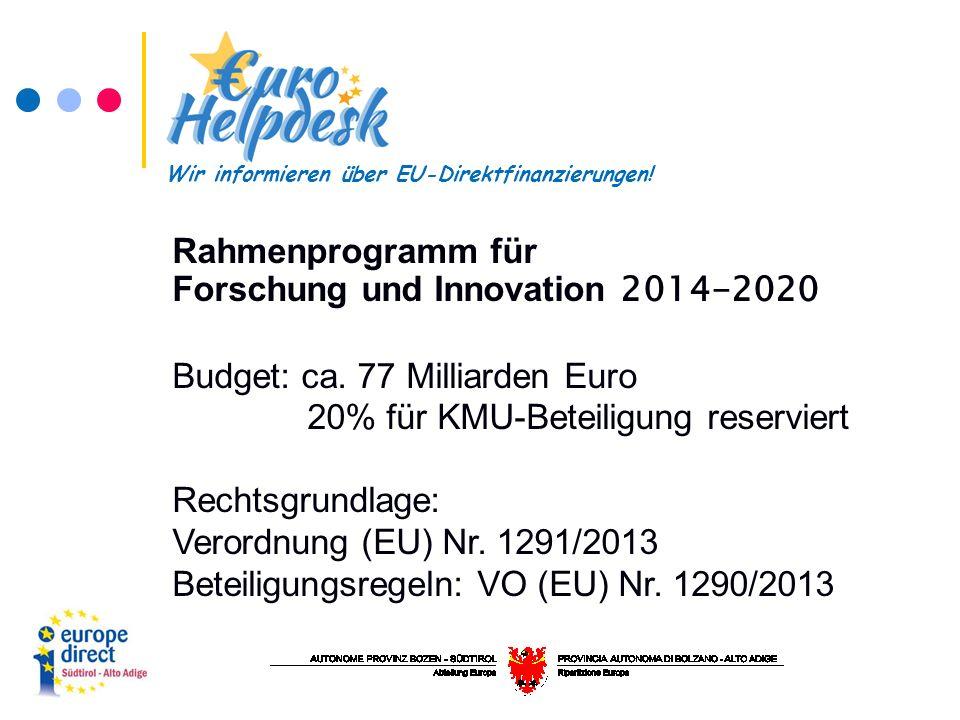 Rahmenprogramm für Forschung und Innovation 2014-2020 Budget: ca.