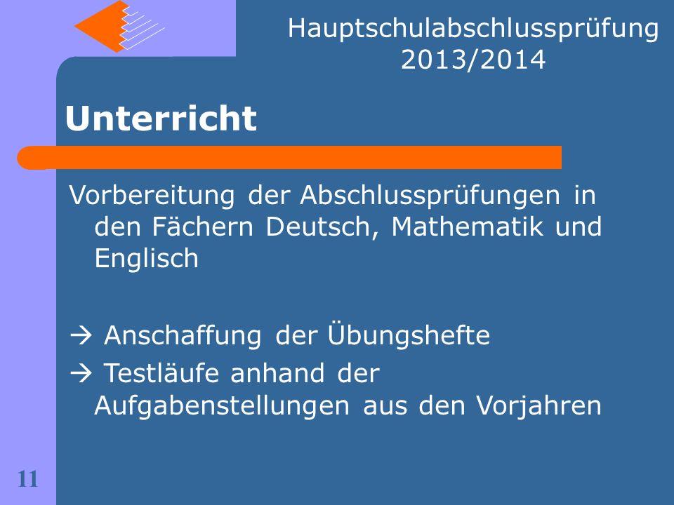 Unterricht Vorbereitung der Abschlussprüfungen in den Fächern Deutsch, Mathematik und Englisch Anschaffung der Übungshefte Testläufe anhand der Aufgab