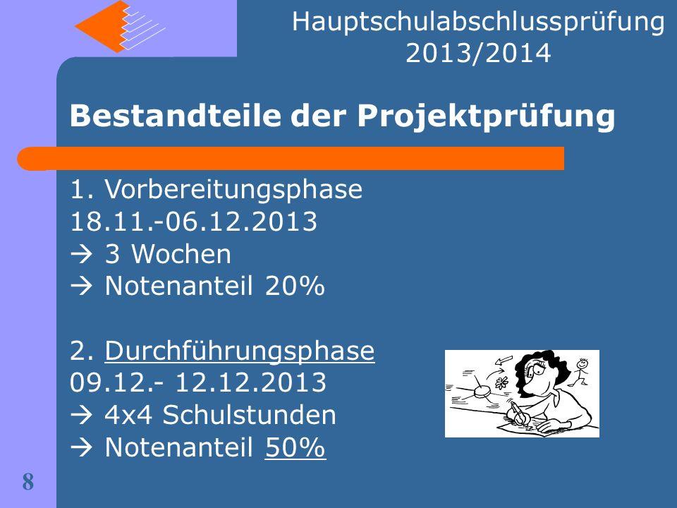 Bestandteile der Projektprüfung 8 Hauptschulabschlussprüfung 2013/2014 1. Vorbereitungsphase 18.11.-06.12.2013 3 Wochen Notenanteil 20% 2. Durchführun