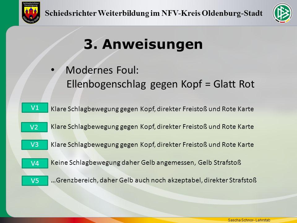 3. Anweisungen Sascha Schnor- Lehrstab Schiedsrichter Weiterbildung im NFV-Kreis Oldenburg-Stadt Modernes Foul: Ellenbogenschlag gegen Kopf = Glatt Ro