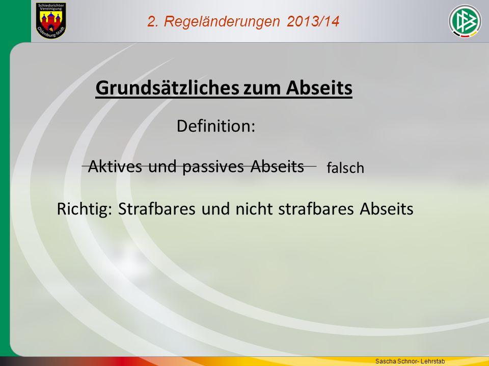 2. Regeländerungen 2013/14 Grundsätzliches zum Abseits Aktives und passives Abseits falsch Richtig: Strafbares und nicht strafbares Abseits Definition