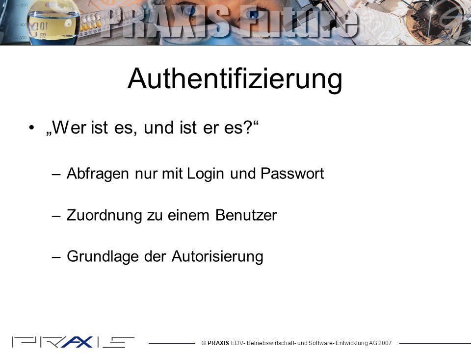 © PRAXIS EDV- Betriebswirtschaft- und Software- Entwicklung AG 2007 Autorisierung Darf er es.