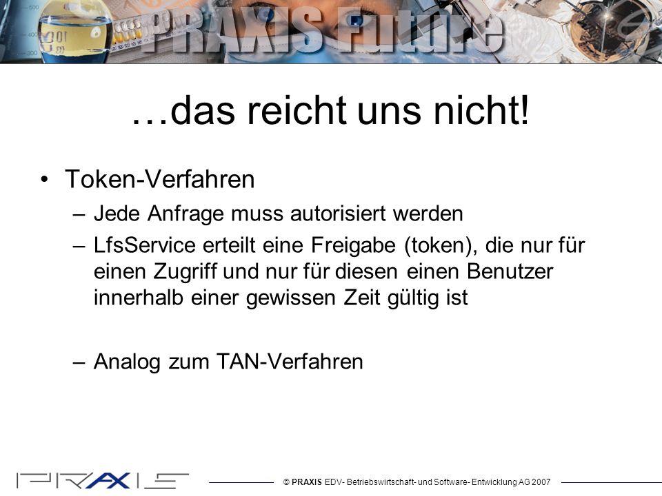 © PRAXIS EDV- Betriebswirtschaft- und Software- Entwicklung AG 2007 …das reicht uns nicht.