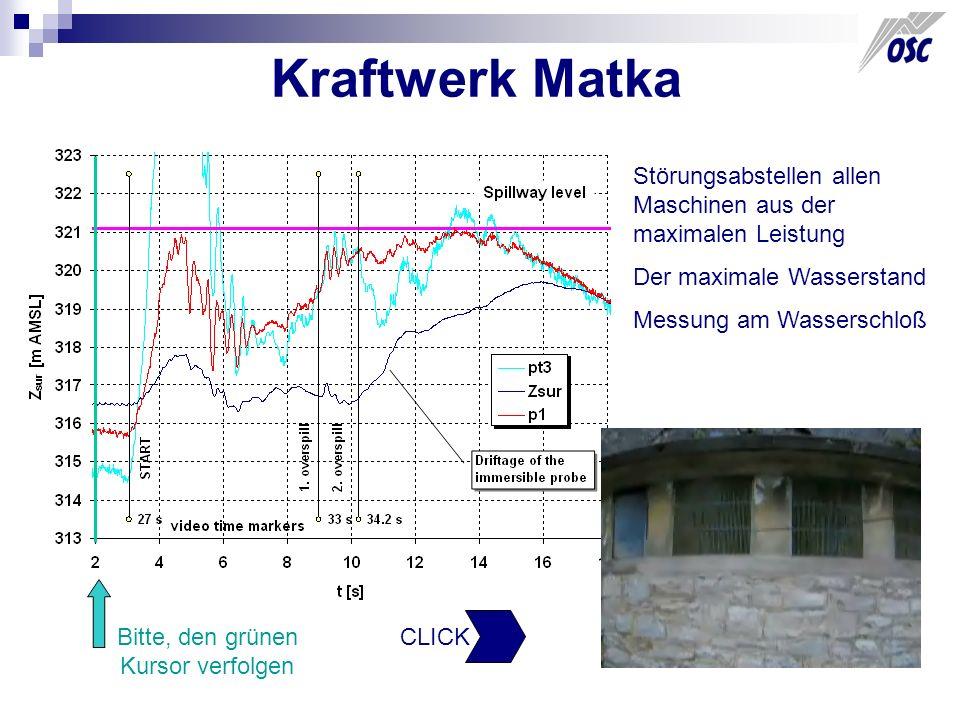 Kraftwerk Matka Störungsabstellen allen Maschinen aus der maximalen Leistung Der maximale Wasserstand Messung am Wasserschloß Bitte, den grünen Kursor