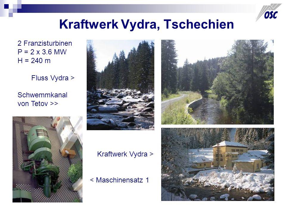 Kraftwerk Vydra, Tschechien 2 Franzisturbinen P = 2 x 3.6 MW H = 240 m Fluss Vydra > Schwemmkanal von Tetov >> Kraftwerk Vydra > < Maschinensatz 1