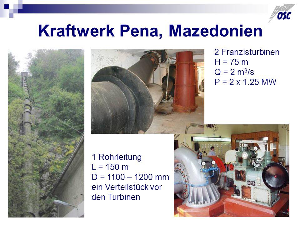 Kraftwerk Pena, Mazedonien 2 Franzisturbinen H = 75 m Q = 2 m 3 /s P = 2 x 1.25 MW 1 Rohrleitung L = 150 m D = 1100 – 1200 mm ein Verteilstück vor den