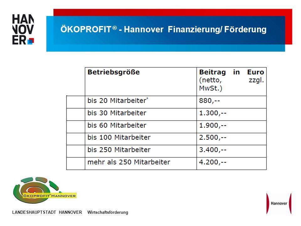 LANDESHAUPTSTADT HANNOVERWirtschaftsförderung ÖKOPROFIT ® - Hannover Finanzierung/ Förderung