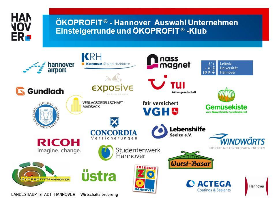 LANDESHAUPTSTADT HANNOVERWirtschaftsförderung ÖKOPROFIT ® - Hannover Auswahl Unternehmen Einsteigerrunde und ÖKOPROFIT ® -Klub