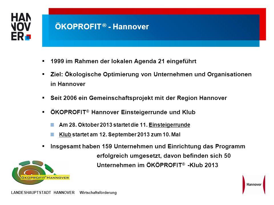 LANDESHAUPTSTADT HANNOVERWirtschaftsförderung ÖKOPROFIT ® - Hannover 1999 im Rahmen der lokalen Agenda 21 eingeführt Ziel: Ökologische Optimierung von