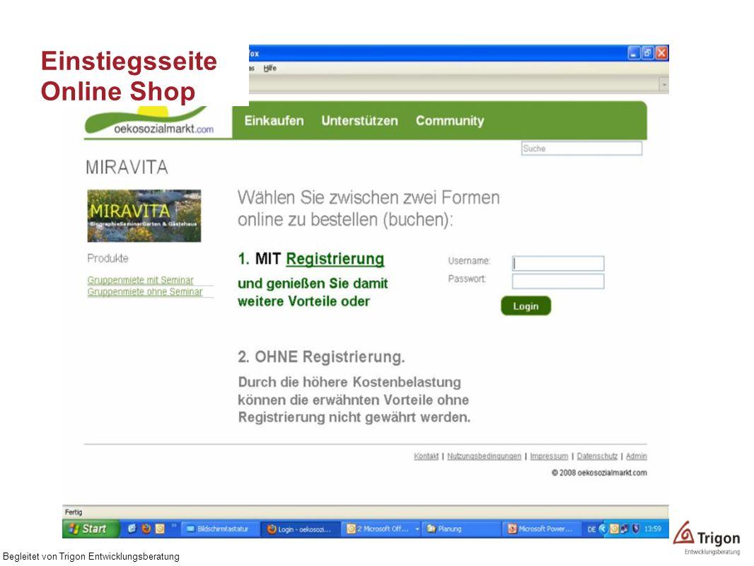 Einstiegsseite Online Shop Begleitet von Trigon Entwicklungsberatung