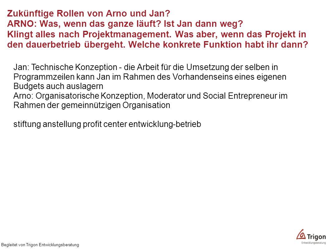 Zukünftige Rollen von Arno und Jan? ARNO: Was, wenn das ganze läuft? Ist Jan dann weg? Klingt alles nach Projektmanagement. Was aber, wenn das Projekt