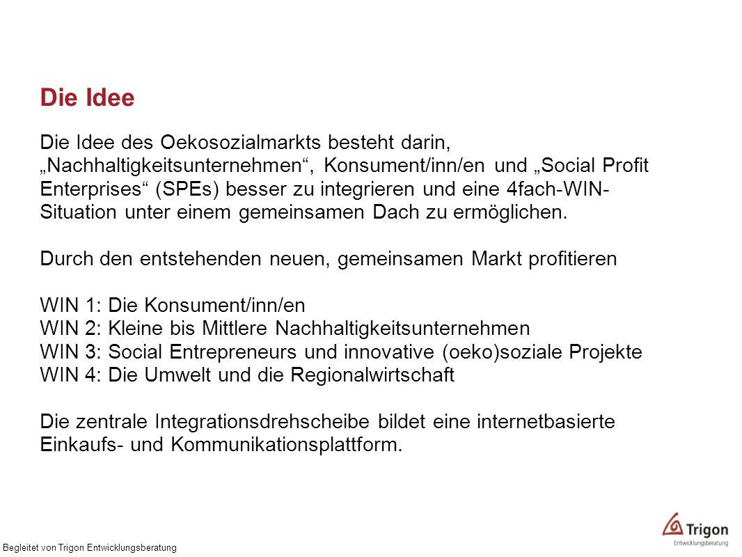 Die Idee Die Idee des Oekosozialmarkts besteht darin, Nachhaltigkeitsunternehmen, Konsument/inn/en und Social Profit Enterprises (SPEs) besser zu inte