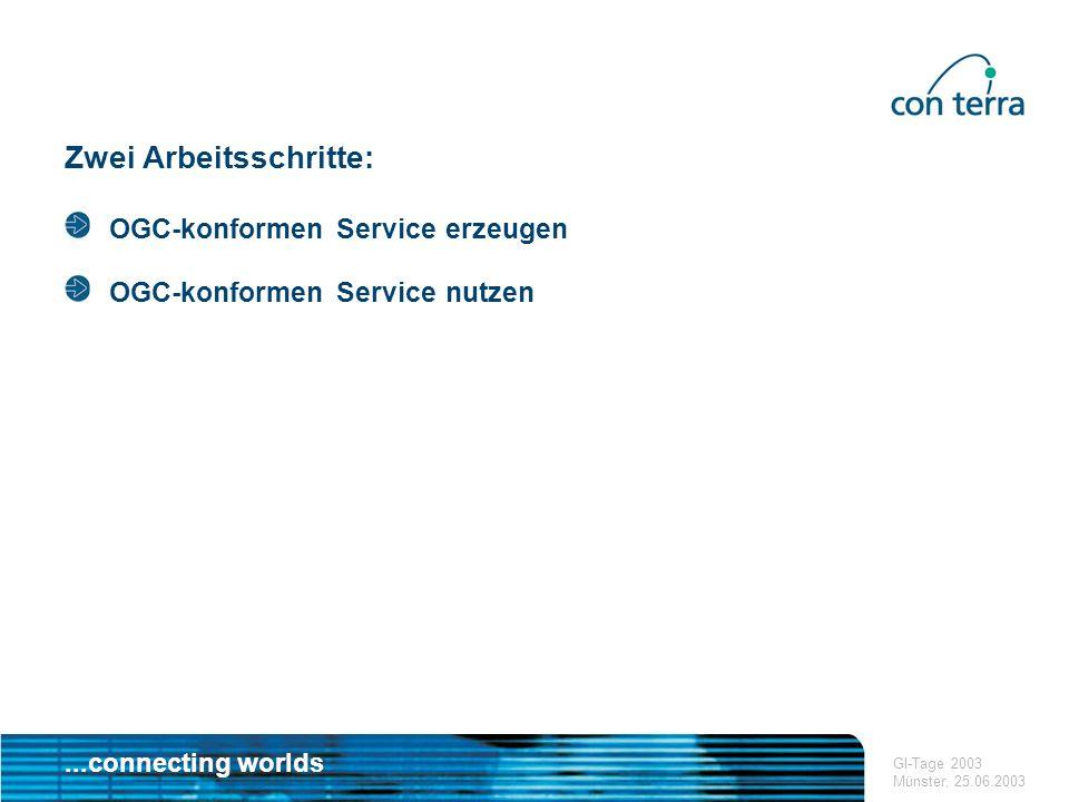 ...connecting worlds GI-Tage 2003 Münster, 25.06.2003 ArcGIS WMS Extension Ausblick Weiterentwicklung der Extension und Integration in weitere Produkte Nachziehen von ESRI USA: Entsprechender Funktionalitäten sind als add-on angekündigt (WMS & WFS) Nutzung in weiteren ArcGIS-Tools Beispiel ArcScene: