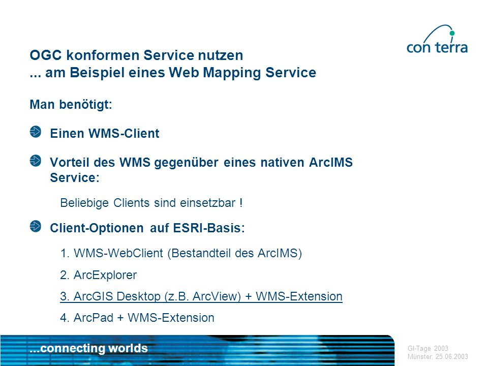 ...connecting worlds GI-Tage 2003 Münster, 25.06.2003 OGC konformen Service nutzen...