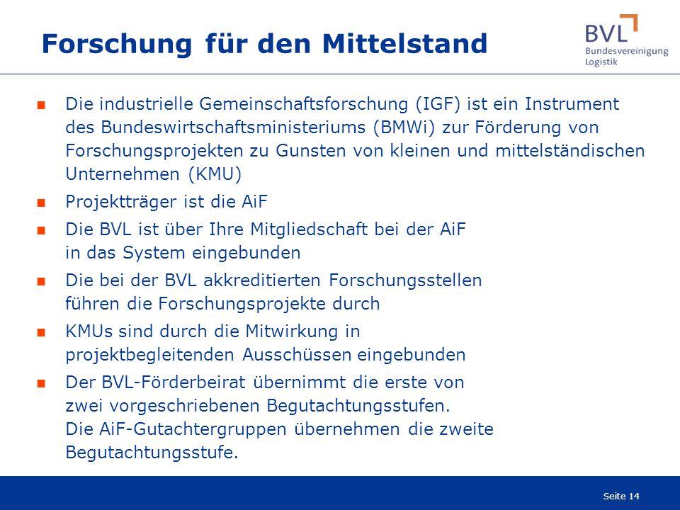 Seite 14 Forschung für den Mittelstand Die industrielle Gemeinschaftsforschung (IGF) ist ein Instrument des Bundeswirtschaftsministeriums (BMWi) zur F
