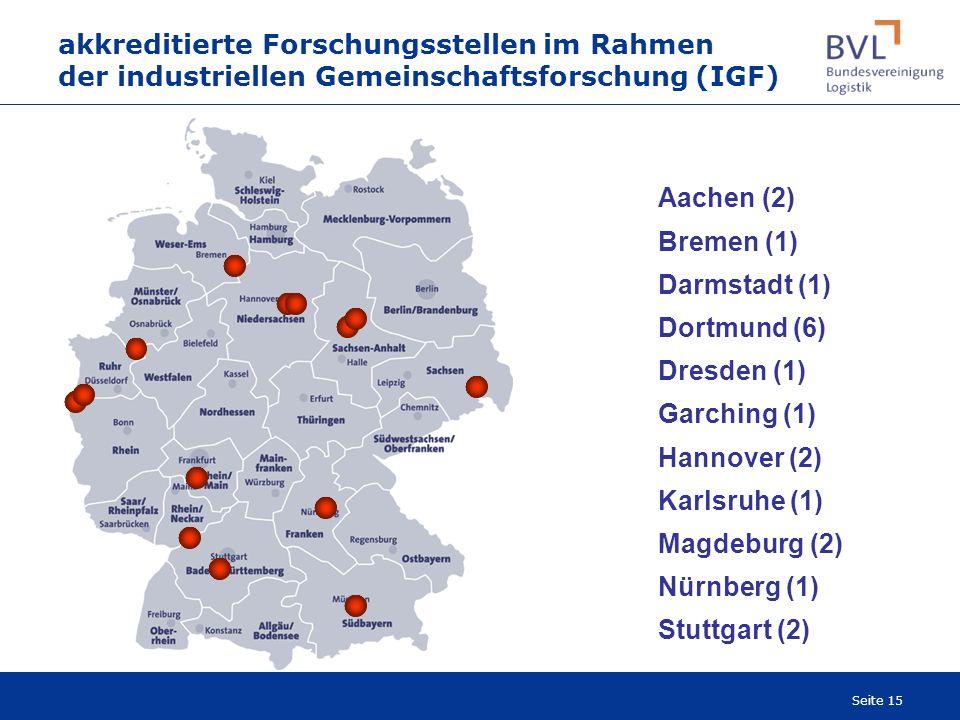 Seite 15 akkreditierte Forschungsstellen im Rahmen der industriellen Gemeinschaftsforschung (IGF) Aachen (2) Bremen (1) Darmstadt (1) Dortmund (6) Dre