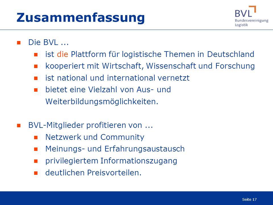 Seite 17 Die BVL... ist die Plattform für logistische Themen in Deutschland kooperiert mit Wirtschaft, Wissenschaft und Forschung ist national und int