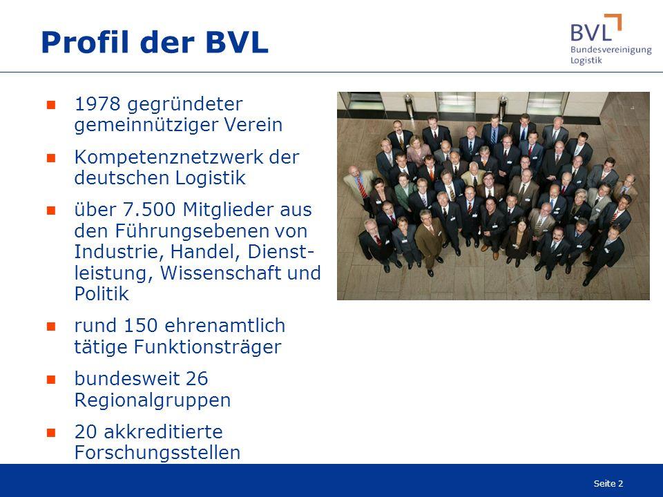 Seite 2 1978 gegründeter gemeinnütziger Verein Kompetenznetzwerk der deutschen Logistik über 7.500 Mitglieder aus den Führungsebenen von Industrie, Ha