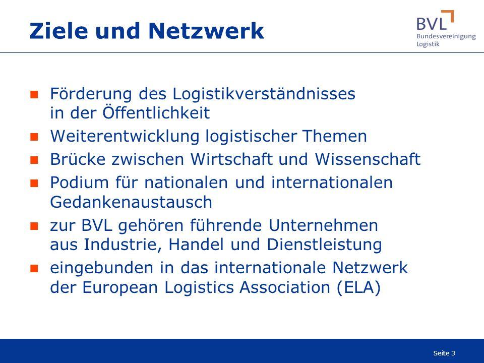 Seite 3 Ziele und Netzwerk Förderung des Logistikverständnisses in der Öffentlichkeit Weiterentwicklung logistischer Themen Brücke zwischen Wirtschaft