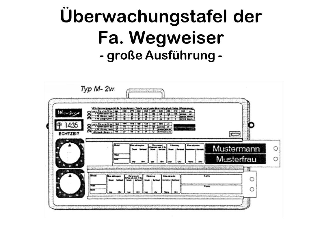 Überwachungstafel der Fa. Wegweiser - große Ausführung -