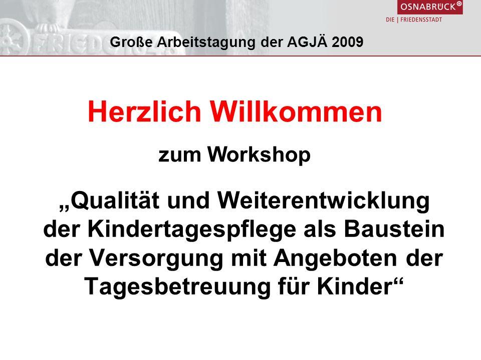 Qualität und Weiterentwicklung der Kindertagespflege als Baustein der Versorgung mit Angeboten der Tagesbetreuung für Kinder Große Arbeitstagung der AGJÄ 2009 Herzlich Willkommen zum Workshop