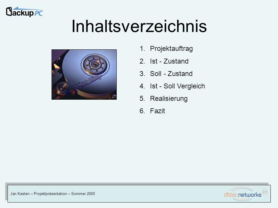 Inhaltsverzeichnis Jan Kasten – Projektpräsentation – Sommer 2005 1.Projektauftrag 2.Ist - Zustand 3.Soll - Zustand 4.Ist - Soll Vergleich 5.Realisier