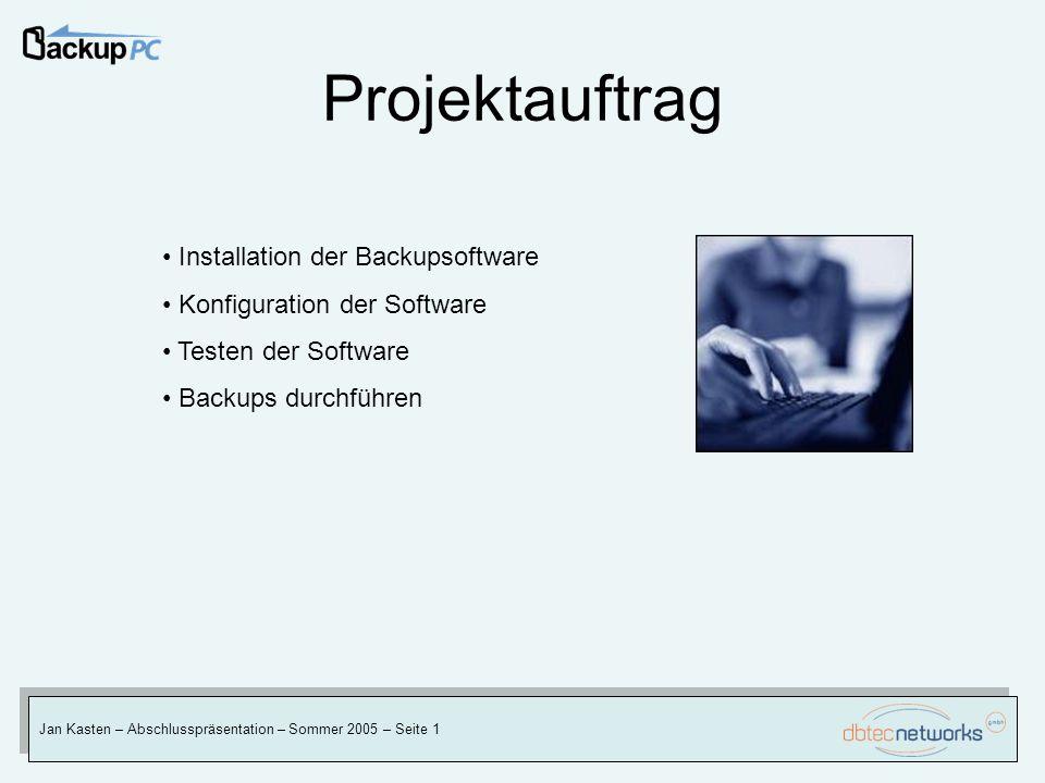 Projektauftrag Jan Kasten – Abschlusspräsentation – Sommer 2005 – Seite 1 Installation der Backupsoftware Konfiguration der Software Testen der Softwa