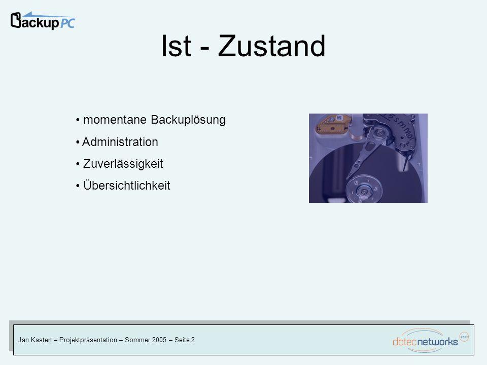 Ist - Zustand Jan Kasten – Projektpräsentation – Sommer 2005 – Seite 2 momentane Backuplösung Administration Zuverlässigkeit Übersichtlichkeit