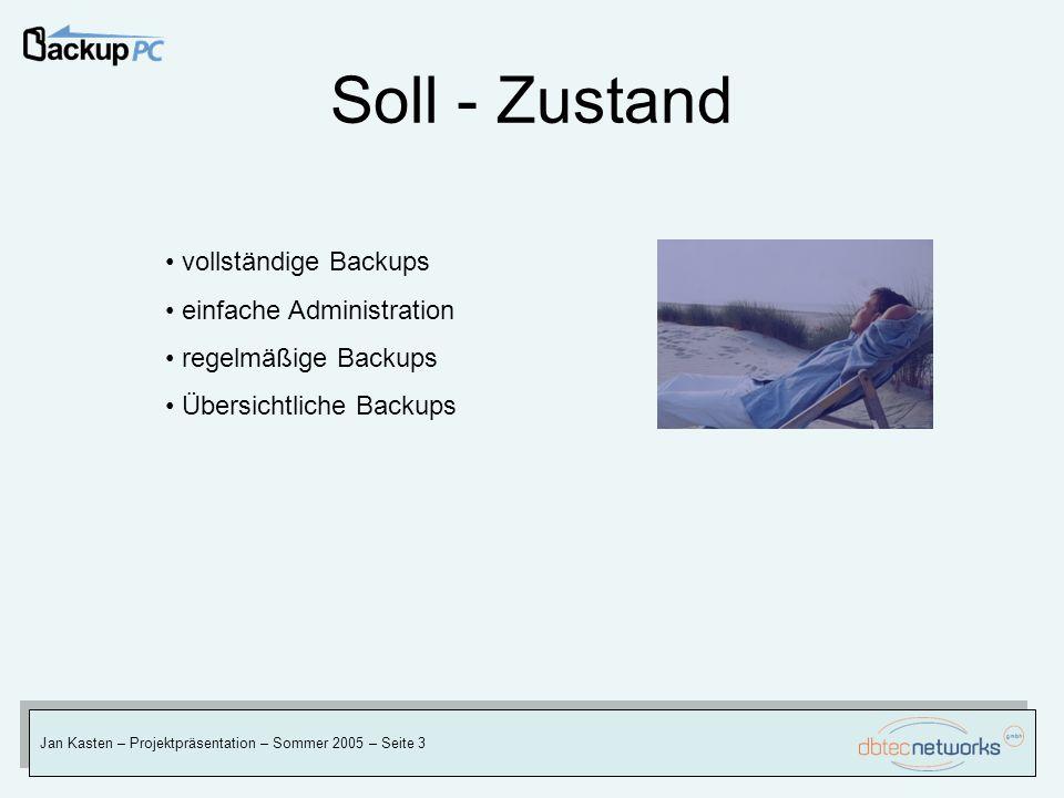 Soll - Zustand Jan Kasten – Projektpräsentation – Sommer 2005 – Seite 3 vollständige Backups einfache Administration regelmäßige Backups Übersichtlich