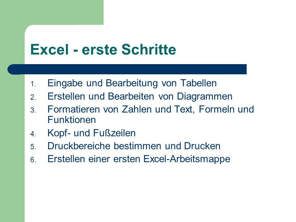 Excel - erste Schritte 1. Eingabe und Bearbeitung von Tabellen 2.