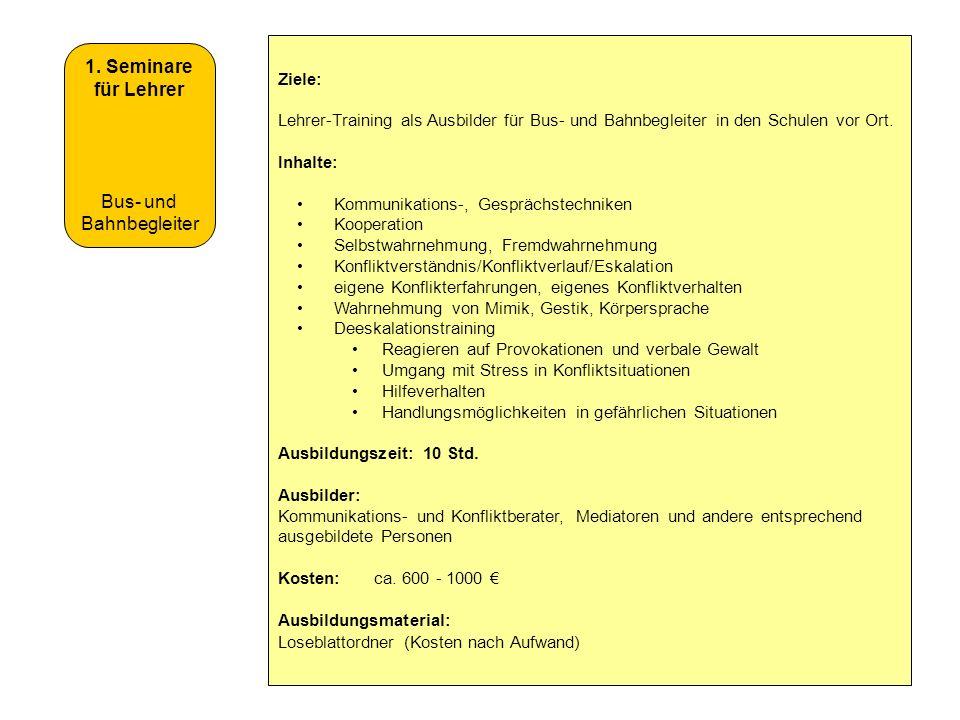 1. Seminare für Lehrer Bus- und Bahnbegleiter Ziele: Lehrer-Training als Ausbilder für Bus- und Bahnbegleiter in den Schulen vor Ort. Inhalte: Kommuni