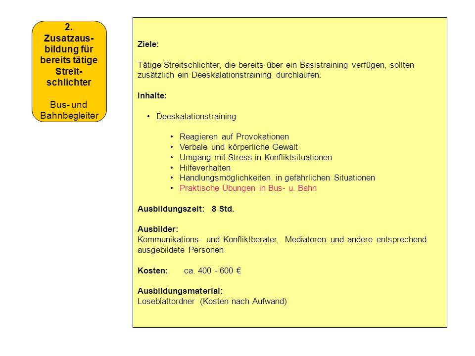 2. Zusatzaus- bildung für bereits tätige Streit- schlichter Bus- und Bahnbegleiter Ziele: Tätige Streitschlichter, die bereits über ein Basistraining