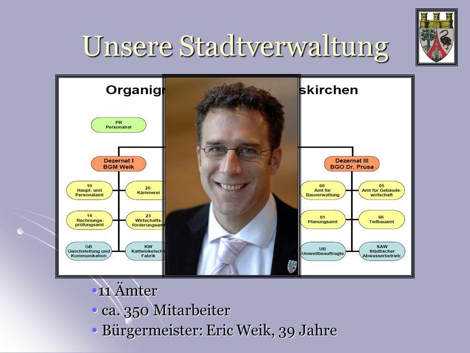 Unsere Stadtverwaltung 11 Ämter 11 Ämter ca. 350 Mitarbeiter ca. 350 Mitarbeiter Bürgermeister: Eric Weik, 39 Jahre Bürgermeister: Eric Weik, 39 Jahre
