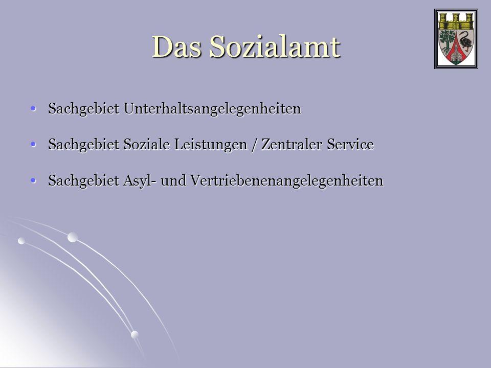 Das Sozialamt Sachgebiet Unterhaltsangelegenheiten Sachgebiet Unterhaltsangelegenheiten Sachgebiet Soziale Leistungen / Zentraler Service Sachgebiet S