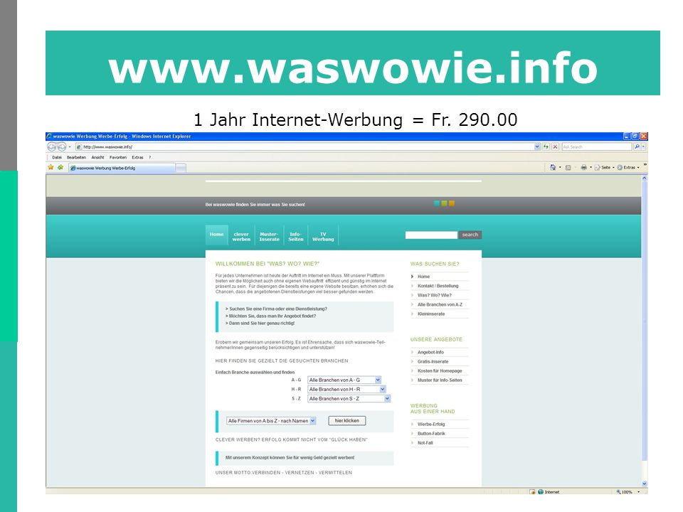 www.waswowie.info 1 Jahr Internet-Werbung = Fr. 290.00