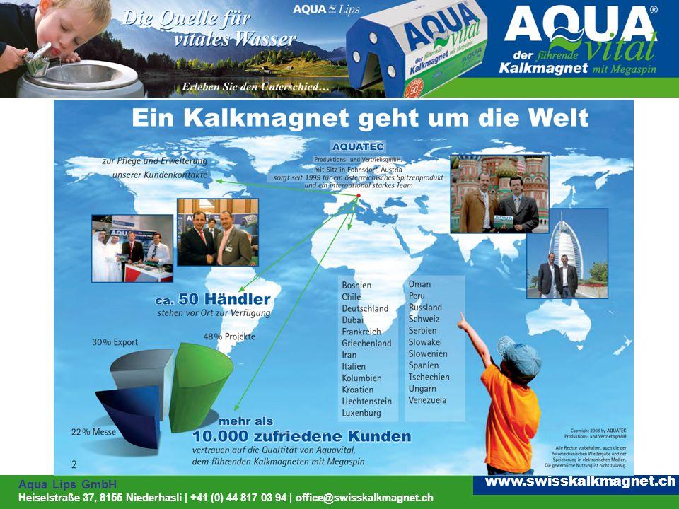 Aqua Lips GmbH Heiselstraße 37, 8155 Niederhasli | +41 (0) 44 817 03 94 | office@swisskalkmagnet.ch www.swisskalkmagnet.ch Wie kommt der Kalk ins Wasser Kohlensäurehältiges Regenwasser sickert durch kalkhaltiges Erdreich