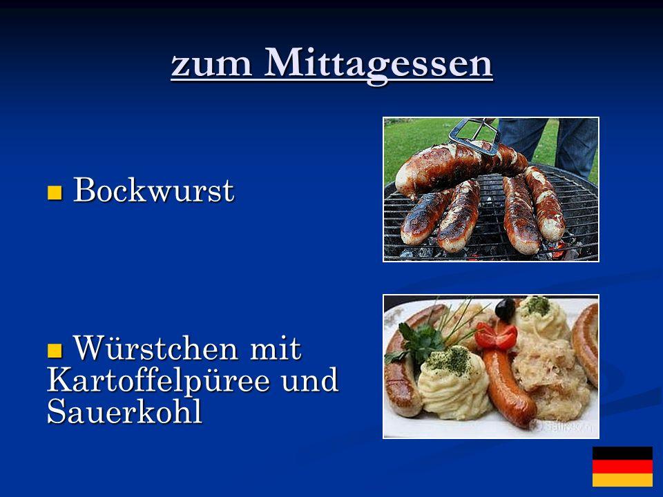 zum Mittagessen Bockwurst Bockwurst Würstchen mit Kartoffelpüree und Sauerkohl Würstchen mit Kartoffelpüree und Sauerkohl