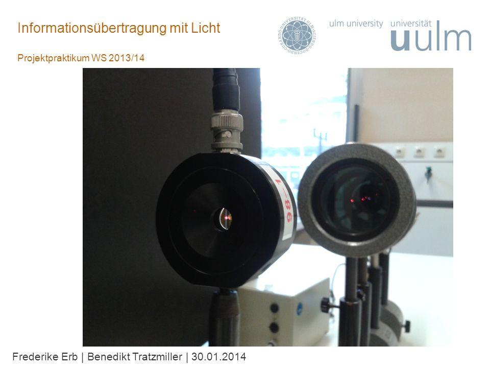 Informationsübertragung mit Licht Projektpraktikum WS 2013/14 Frederike Erb | Benedikt Tratzmiller | 30.01.2014