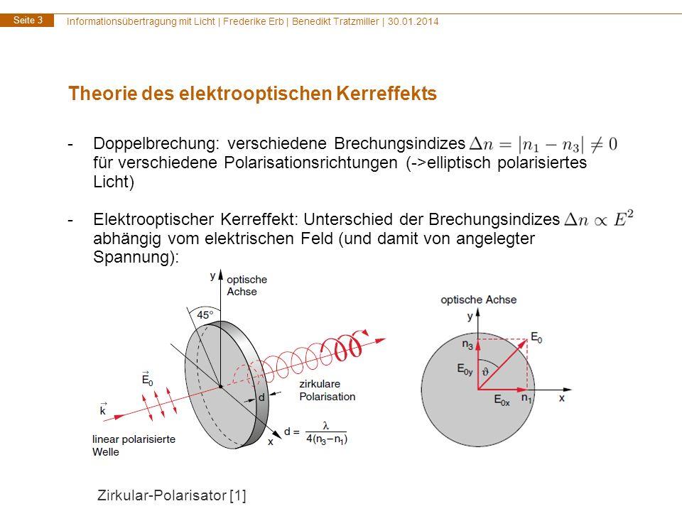 Informationsübertragung mit Licht | Frederike Erb | Benedikt Tratzmiller | 30.01.2014 Seite 3 Theorie des elektrooptischen Kerreffekts -Doppelbrechung