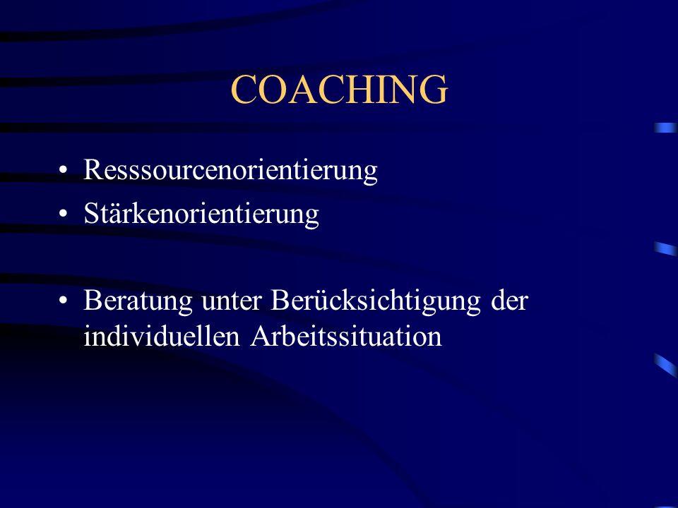 COACHING Resssourcenorientierung Stärkenorientierung Beratung unter Berücksichtigung der individuellen Arbeitssituation
