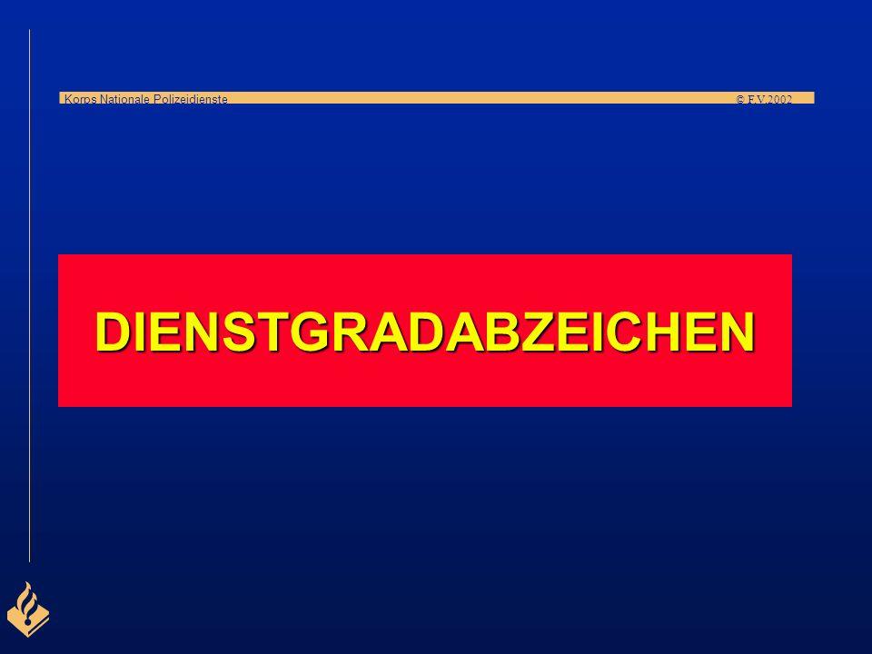 Korps Nationale Polizeidienste © F.V.2002 Anwärter polizeilicher Mitarbeiter (Berufsebene 2), Dauer der Ausbildung: 1½ Jahre, Ausbildung für folgende