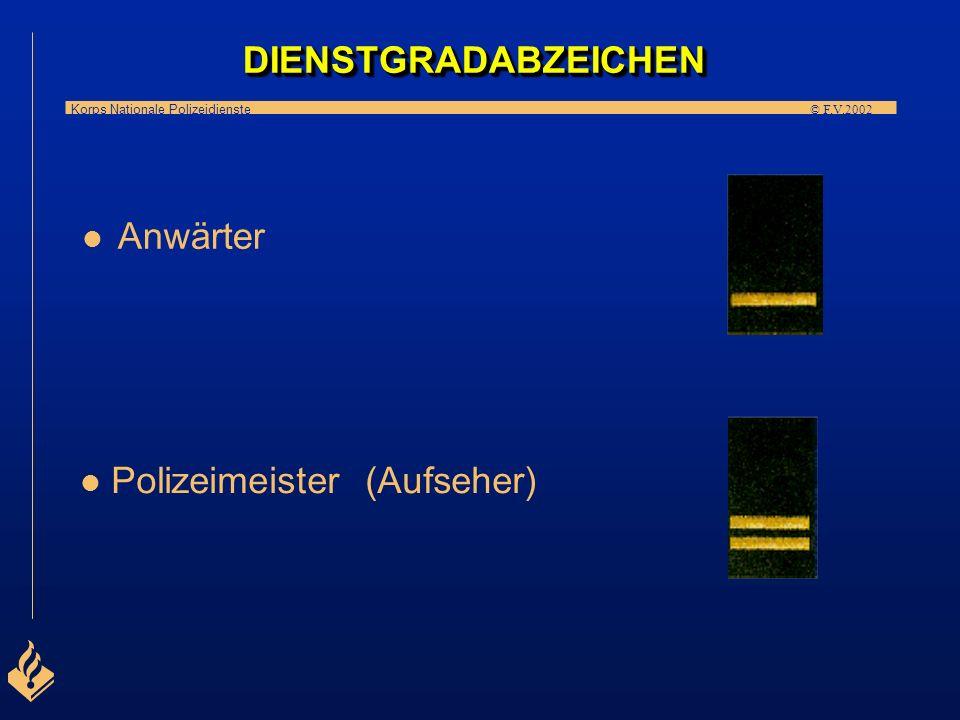 Korps Nationale Polizeidienste © F.V.2002 DIENSTGRADABZEICHEN