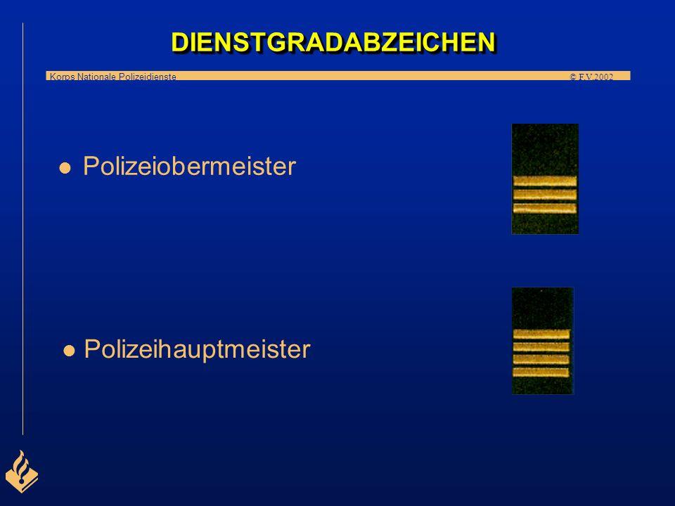 Korps Nationale Polizeidienste © F.V.2002 l Anwärter l l Polizeimeister (Aufseher) DIENSTGRADABZEICHENDIENSTGRADABZEICHEN